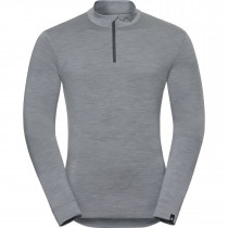 T-shirt Manches Longues 1/2 zip Natural Homme - Grey Melange