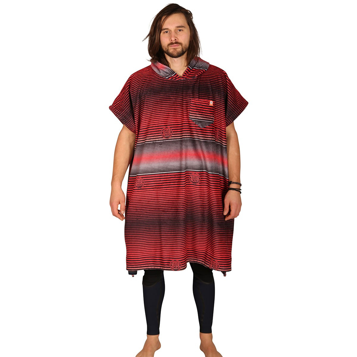 Poncho Stripes - Red - AFTER - Face homme